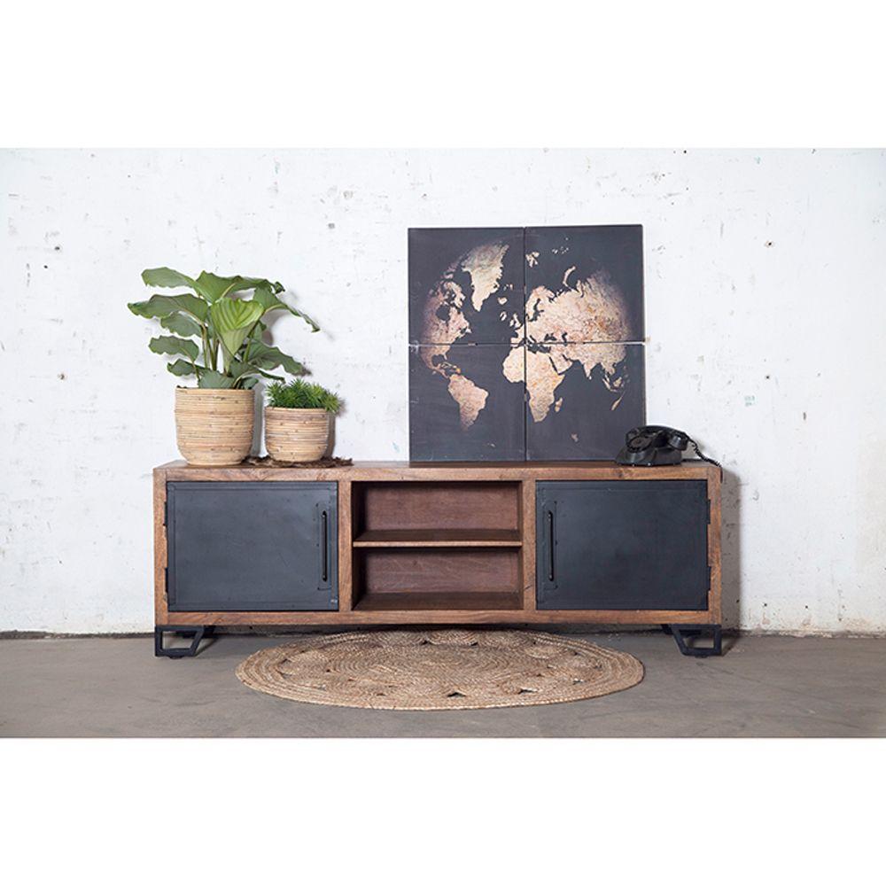 Vintage Retro TV Schrank Lowboard Tisch Fernsehtisch Sideboard Eisen und Altholz