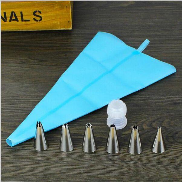 8 ks / Set Silikónové Icing potrubia krém pečivo taška + 6xStainless Steel Nozzle Set DIY tortu zdobenie torty náradie s ponukou Darček