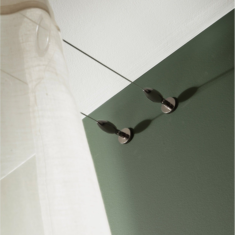 Kit Complet Cable Pour Mur Et Plafond Platinium Black Nickel L 5 M Plafond Tringle Plafond Et Rideau Sans Percer