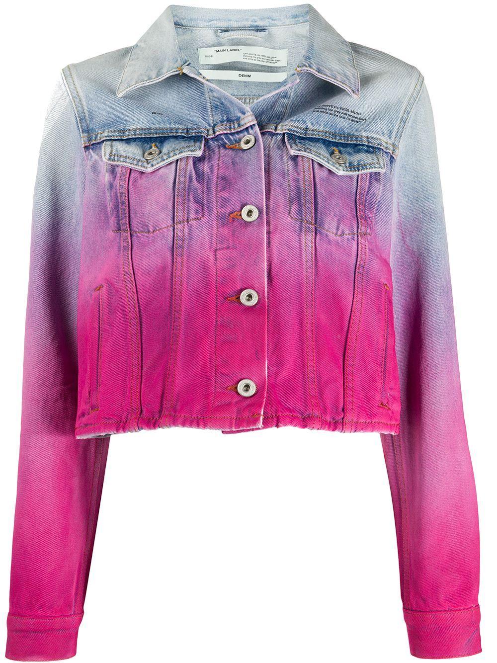 Off White Spray Paint Effect Denim Jacket Farfetch Embellished Denim Jacket Pink Denim Jacket White Denim Jacket [ 1334 x 1000 Pixel ]