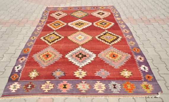 VINTAGE Turkish Kilim Rug Very old Antique by TurkishCraftsArts