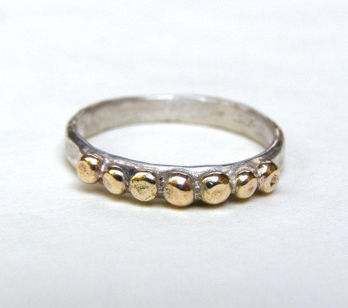 14k Gold ring and silver ring with Lovely 14k gold dots made to
