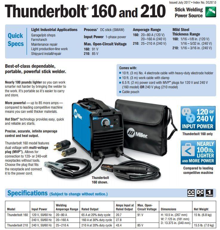 Miller Thunderbolt 160 Dc Stick Welder 907721 Welders For Sale Tig Torch Welding Supplies