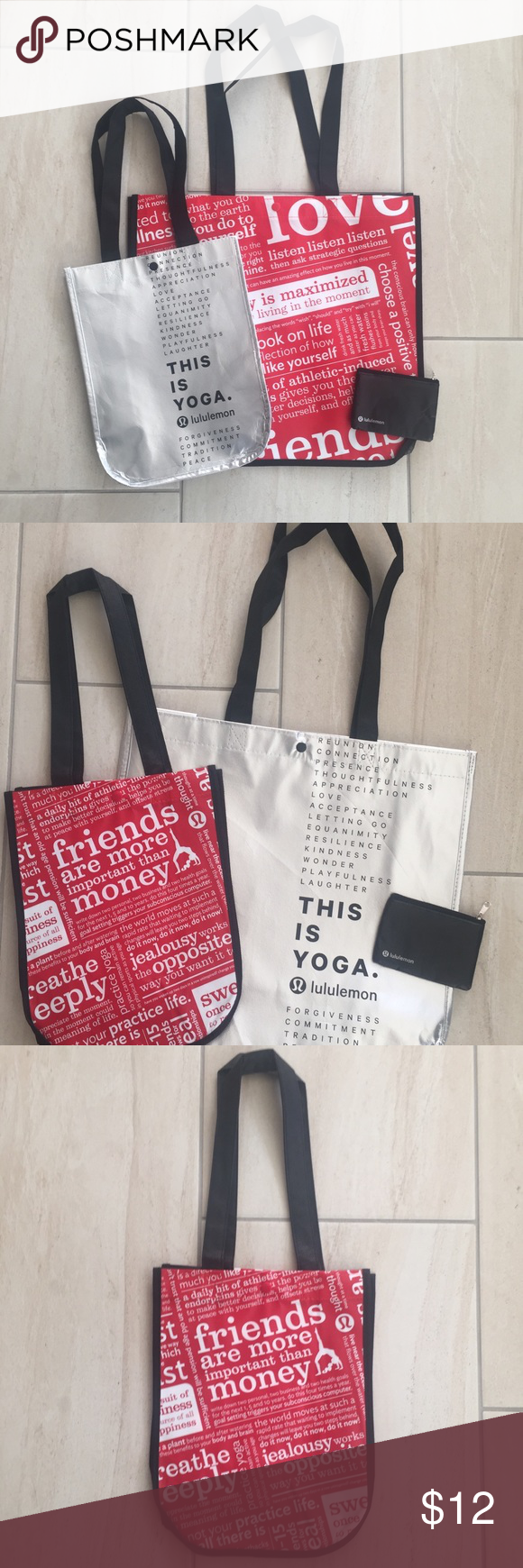 Lululemon Athletica Set 3 Reusable Bags