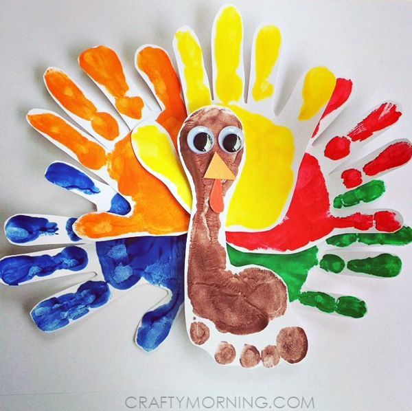 Thanksgiving Crafts For Toddlers Part - 23: Colorful Handprint/Footprint Turkey Craft