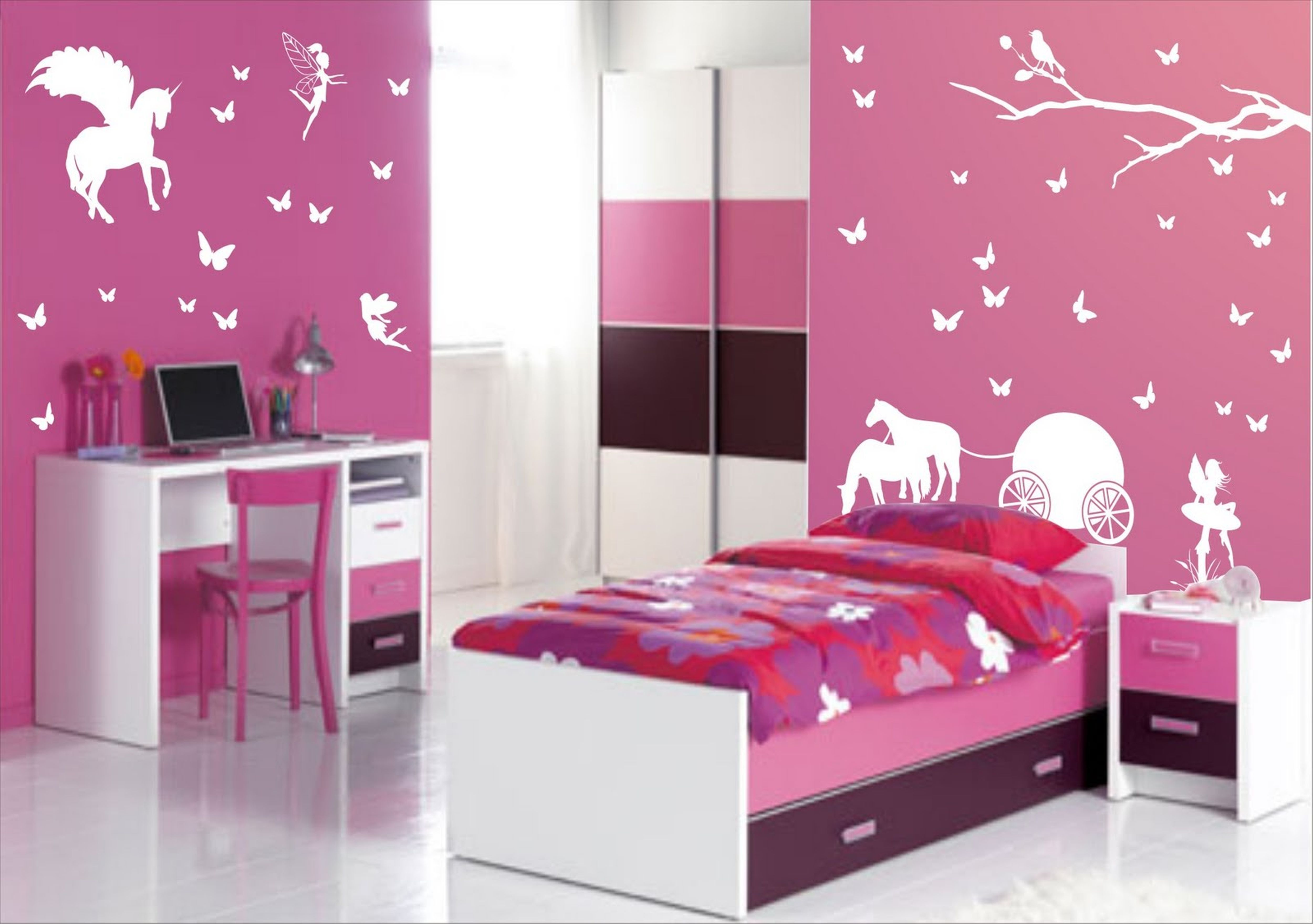 Fancy Pink White Bedroom Paint Idea With White Purple Storage