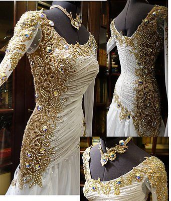 Ballroom Everday Watlz Tango Standard Dance Dress US 12 UK 14 Skin White Color