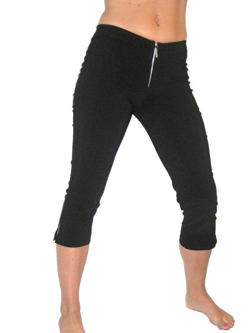 ce7ca895beb3a Ice (1236) Ladies Womans Skinny Stretch 3/4 Pedal Pusher Capri Pants Black