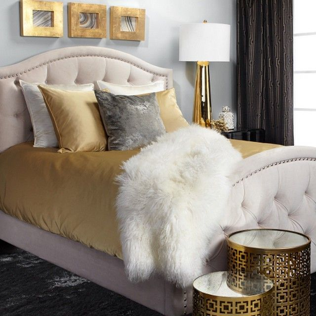 Nicolette bed beautiful bedrooms grey gold bedroom - White and gold room decor ...