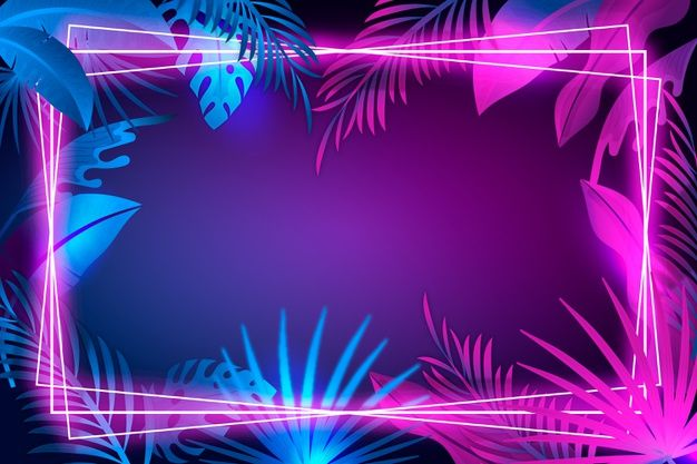 Download Realistic Leaves With Neon Frame For Free Neon Wallpaper 2048x1152 Wallpapers Youtube Banner Backgrounds