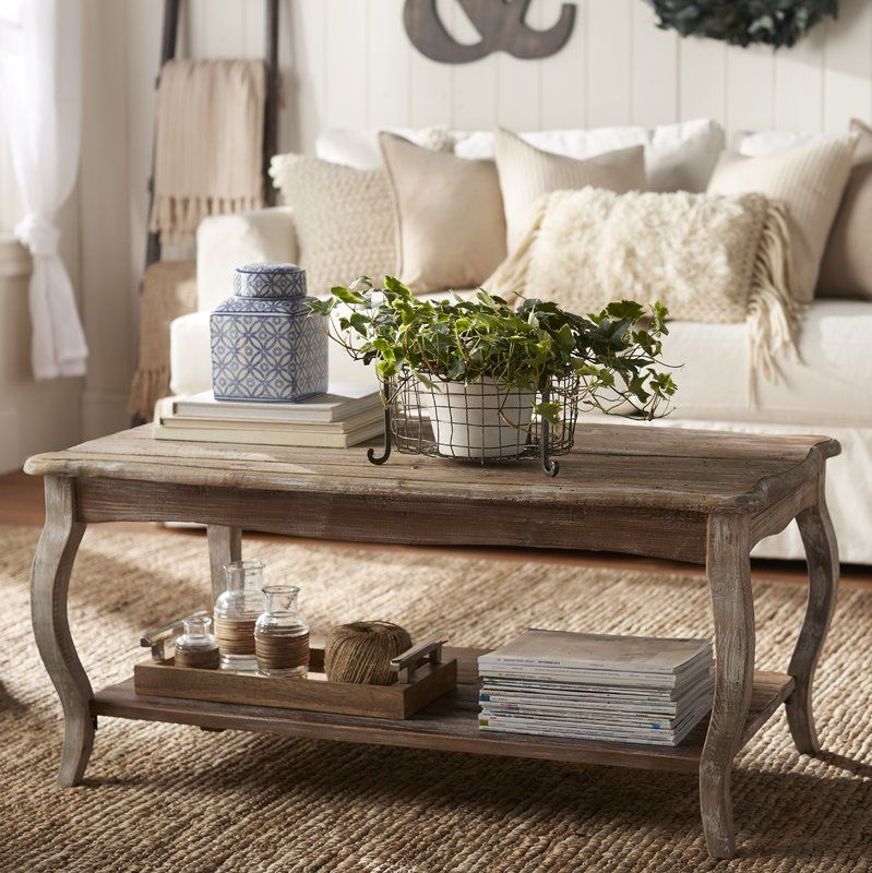 Francoise solid wood coffee table with storage farmhouse
