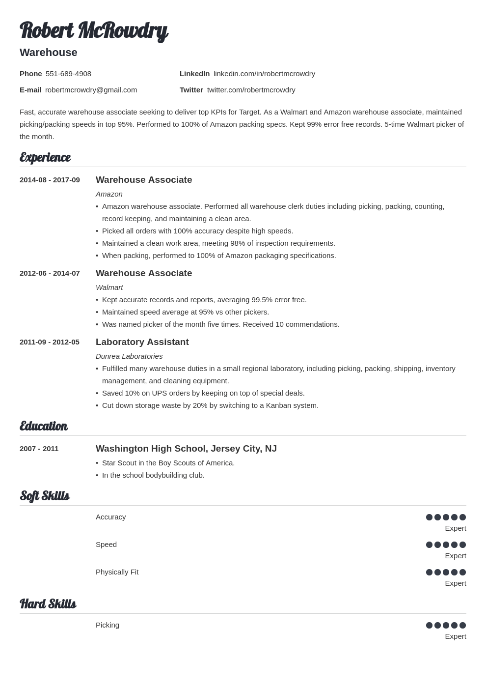 warehouse resume example template valera in 2020 Teacher