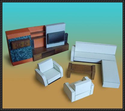 Living Room Furnitures Free Paper Models Download Paper