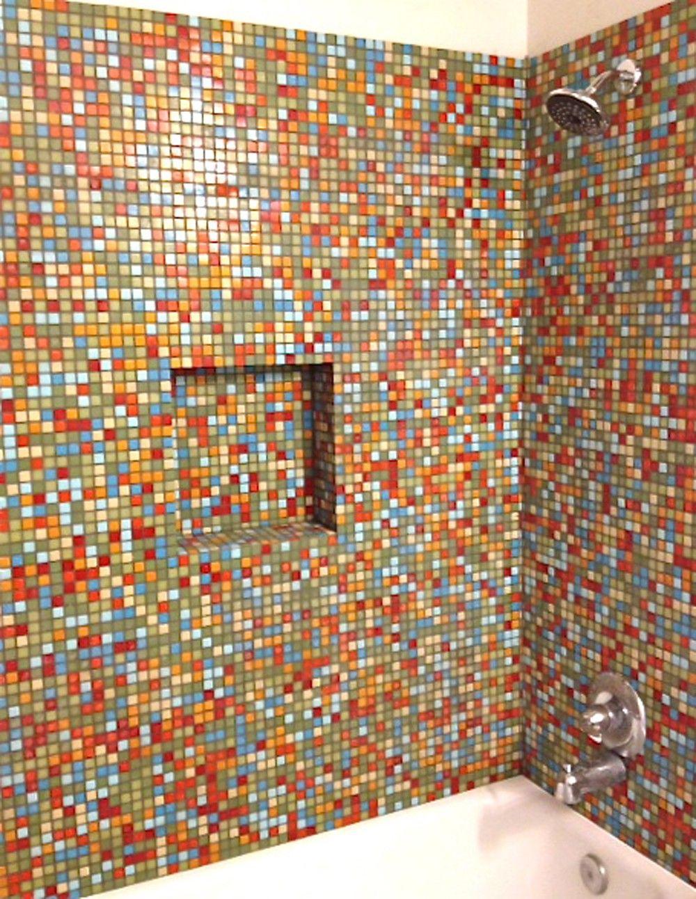 Brio number nine blend glass mosaic tile 3 4 multicolor for Blue and orange bathroom