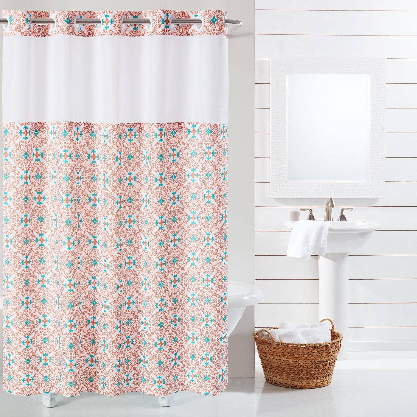 Vervain Medallion Shower Curtain With Liner Hookless Shower