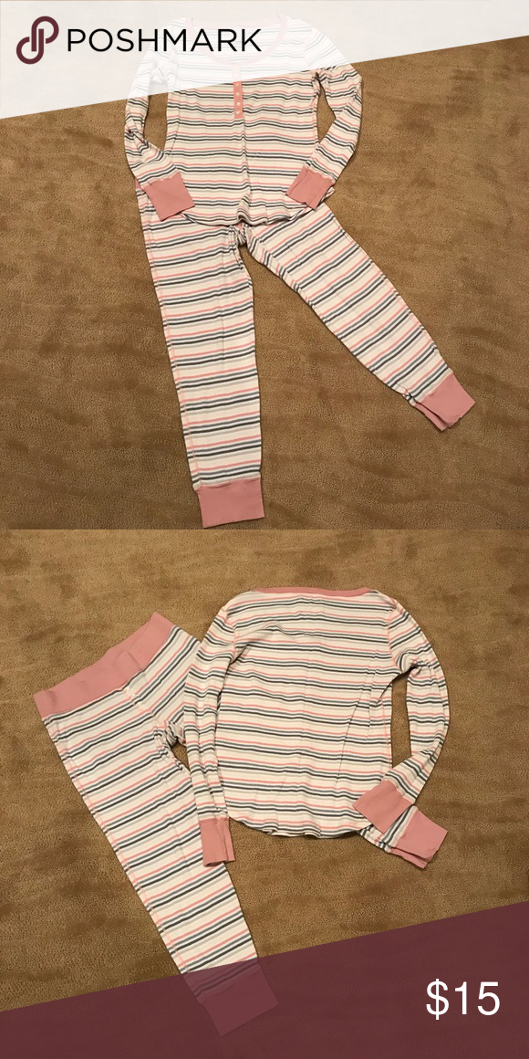 2d7a8e048d7b Pink grey and cream striped. Buttons at top of shirt and pants. Size small. Victoria's  Secret Intimates & Sleepwear Pajamas