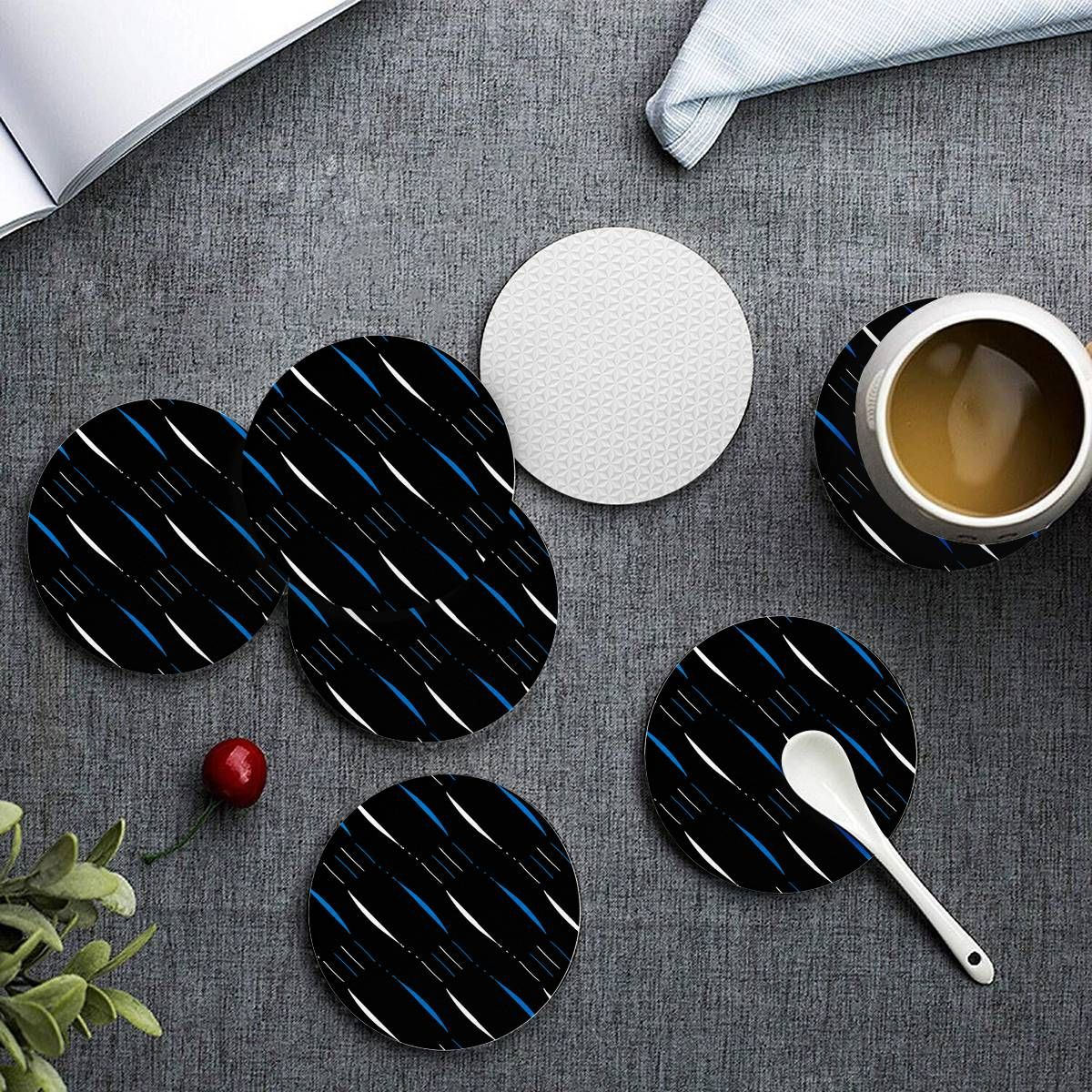 Blue Black White 3 6 Pieces Cup Mats Set In 2020 Cup Mat New Homeowner Gift Black And White