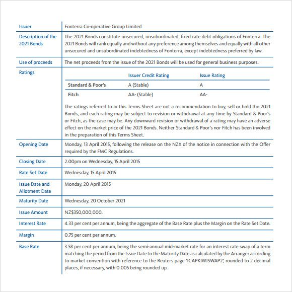 Term Sheet Template 9 Free Samples Examples Format Term Sheet Term Sheet