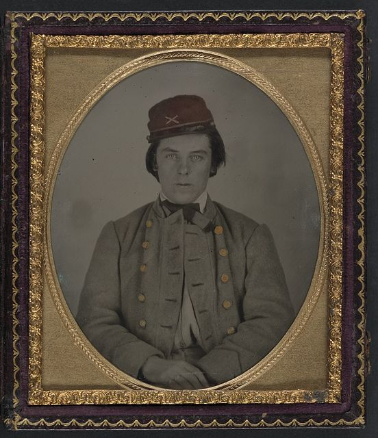 [Unidentified artillery soldier in Confederate uniform and kepi hat] (LOC) by The Library of Congress, via Flickr