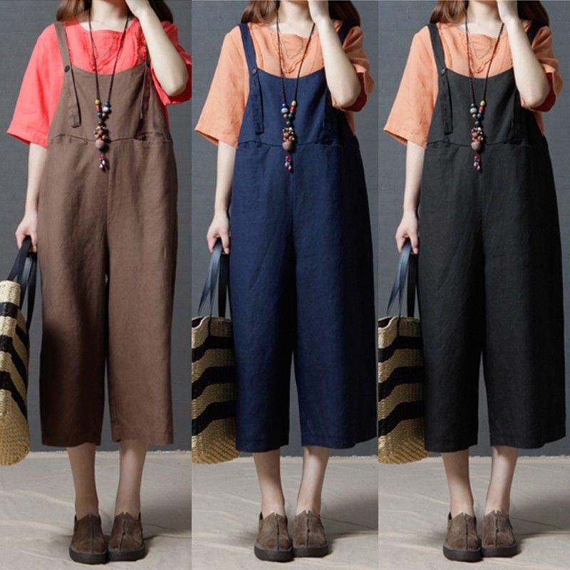 8144d8eee4d  10.44 AUD - Zanzea Women Casual Dungarees Romper Jumpsuit Playsuit Cotton  Plus Size Overalls  ebay  Fashion