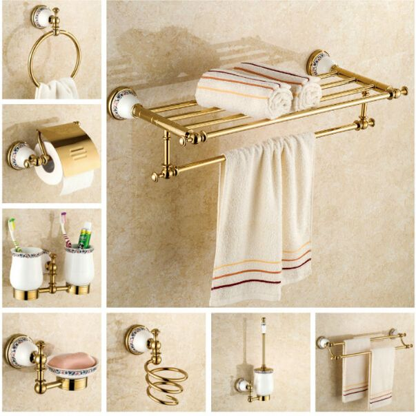 copper bathroom accessories set gold towel bar glass shelf toilet brush holder papar holder wall mounted - Bathroom Accessories Glass Shelf