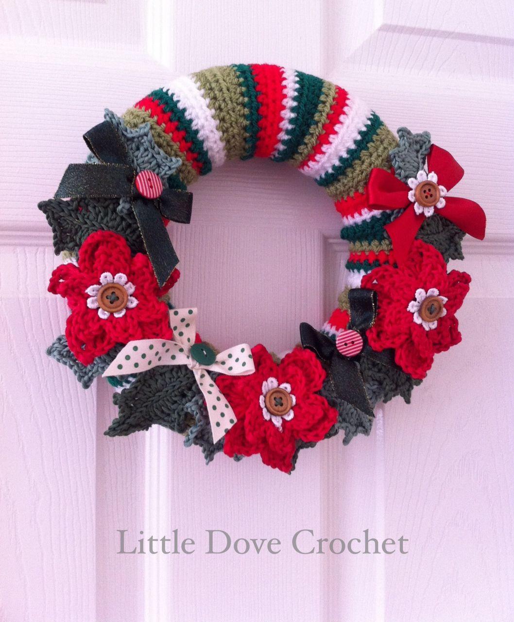 crochet christmas door wreath