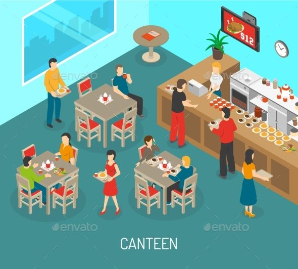 Workplace Canteen Lunch Isometric Poster With Images Isometric