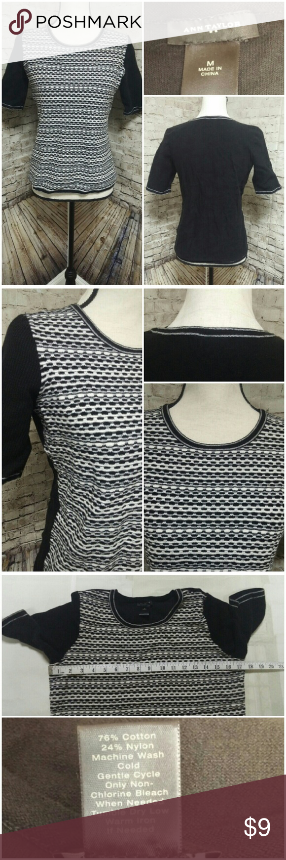 Ann Taylor Sweater Brand: Ann Taylor  Size: Medium  Color: Black and White  Closures: None. Pullover style.  Flaws: None  See listing for pictures of measurements.  Inspections? I check all items for flaws and include any in the listing. If I have missed any, it is by mistake.  Thank you for looking at my closet! Ann Taylor Sweaters Crew & Scoop Necks