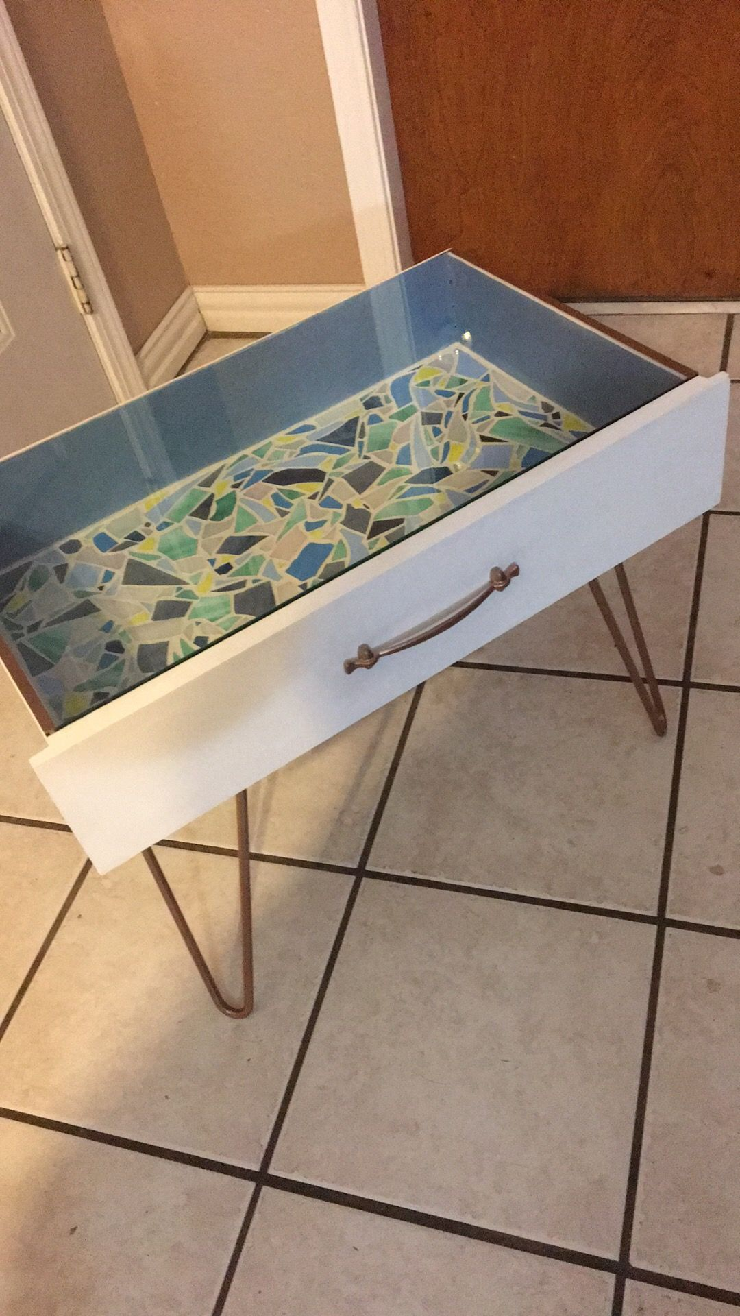 Have A Broken Dresser Turned Them Into Cool Side Table With Some Hairpin Legs And Custom Cut Gl Top Add Mosaic Inside For An Even More Unique