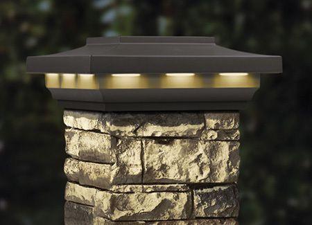 Stone Post Cover Post Caps By Deckorators Solar Post Caps Outdoor Pillar Lights Stone Mailbox