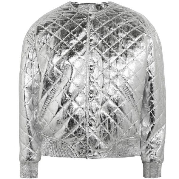 b0daead93 Saint Laurent Quilted metallic leather bomber jacket (12,190 CNY ...