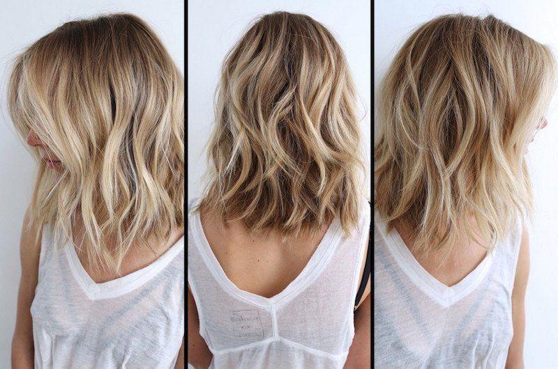 balayage ombre blond clair et coupe lob qui dépasse les épaules