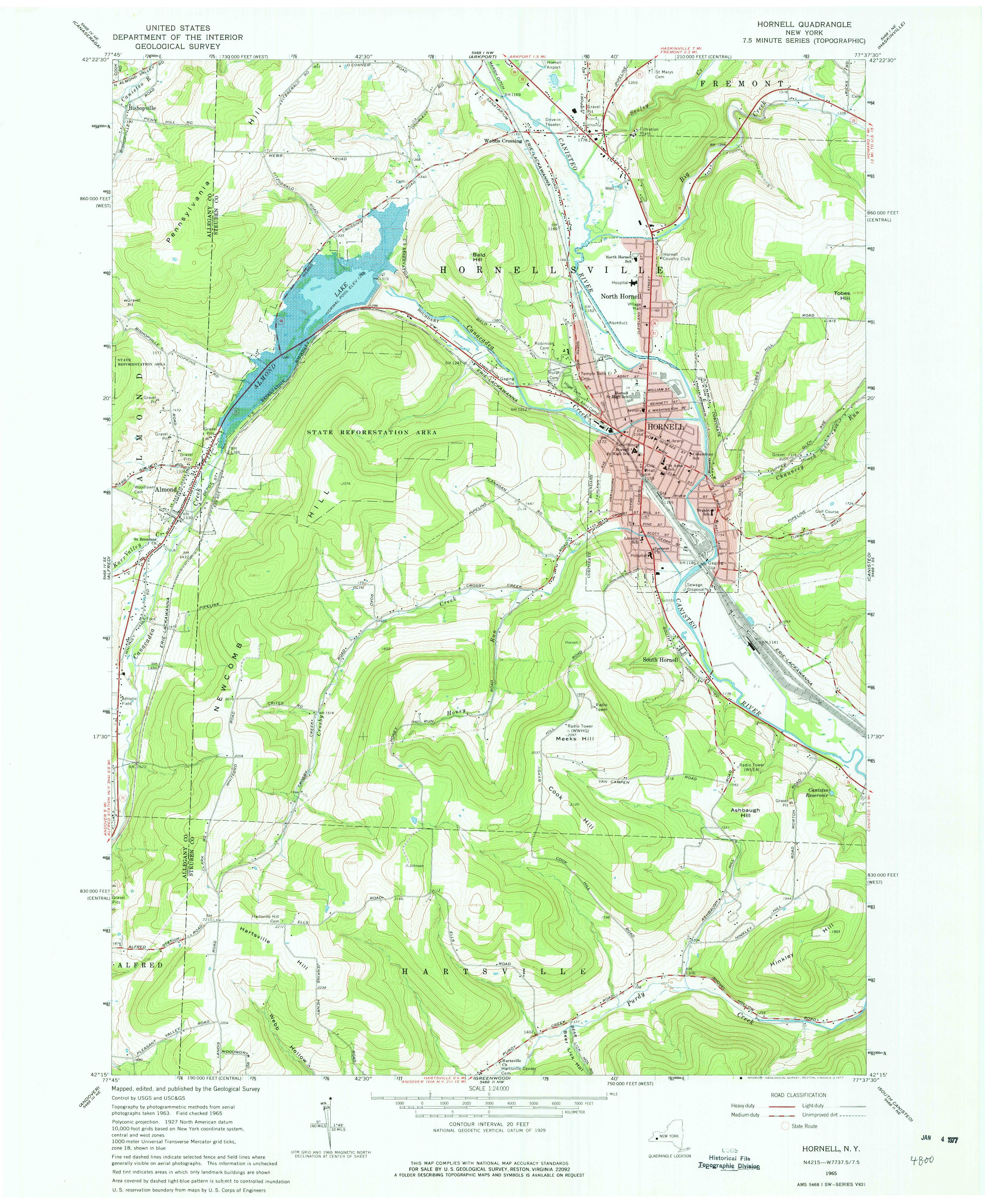 Hornell Ny 1965 Map From The Usgs Historical Topographic Map