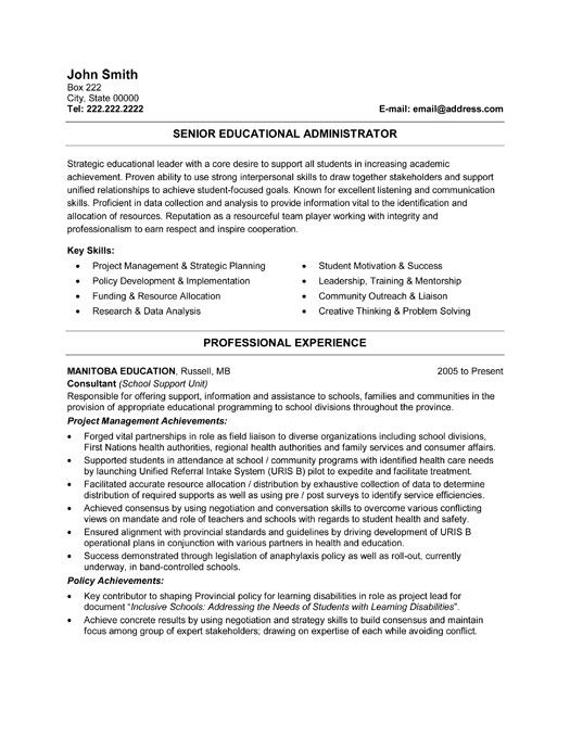 Senior Educational Administrator Resume Template Premium Resume - resume templates education