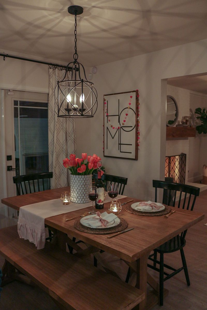 Romantic Dining Room: Romantic Home Date Night + Valentine's Day Tablescape