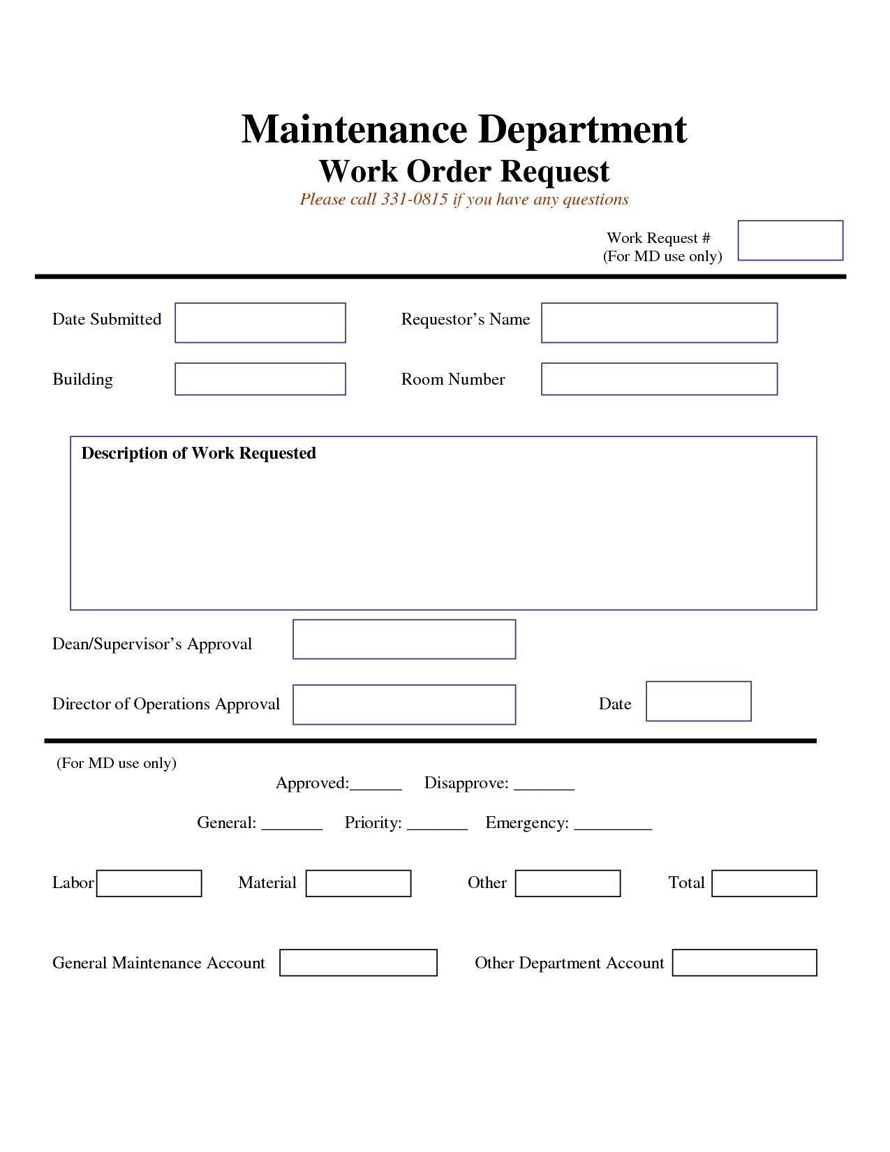 Work Request Form Maintenance Work Order Request Form Inside Maintenance Job Card Template Bes Maintenance Jobs Business Plan Template Computer Maintenance