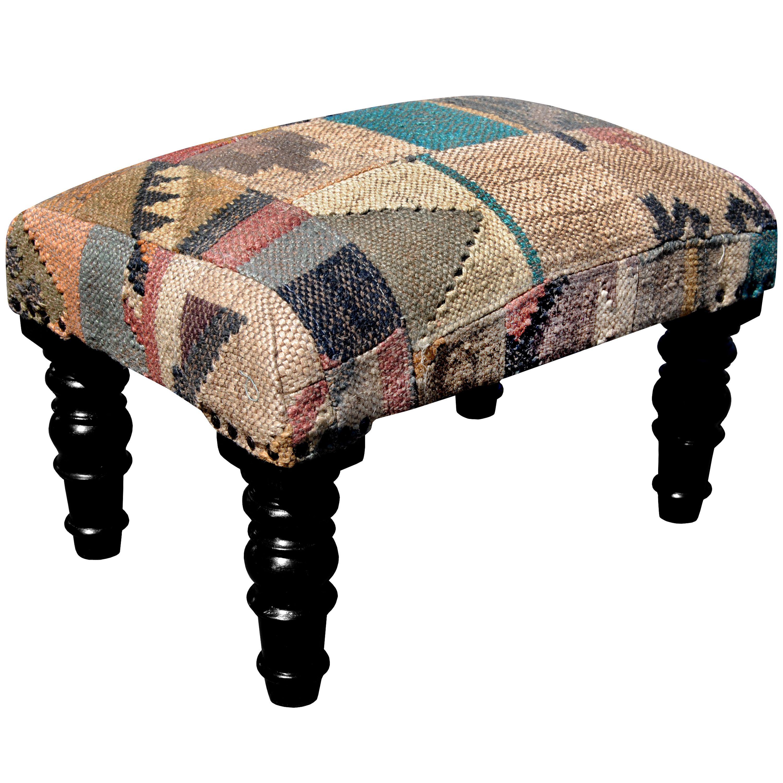 Herat Oriental Handmade Indo Kilim Upholstered Footstool