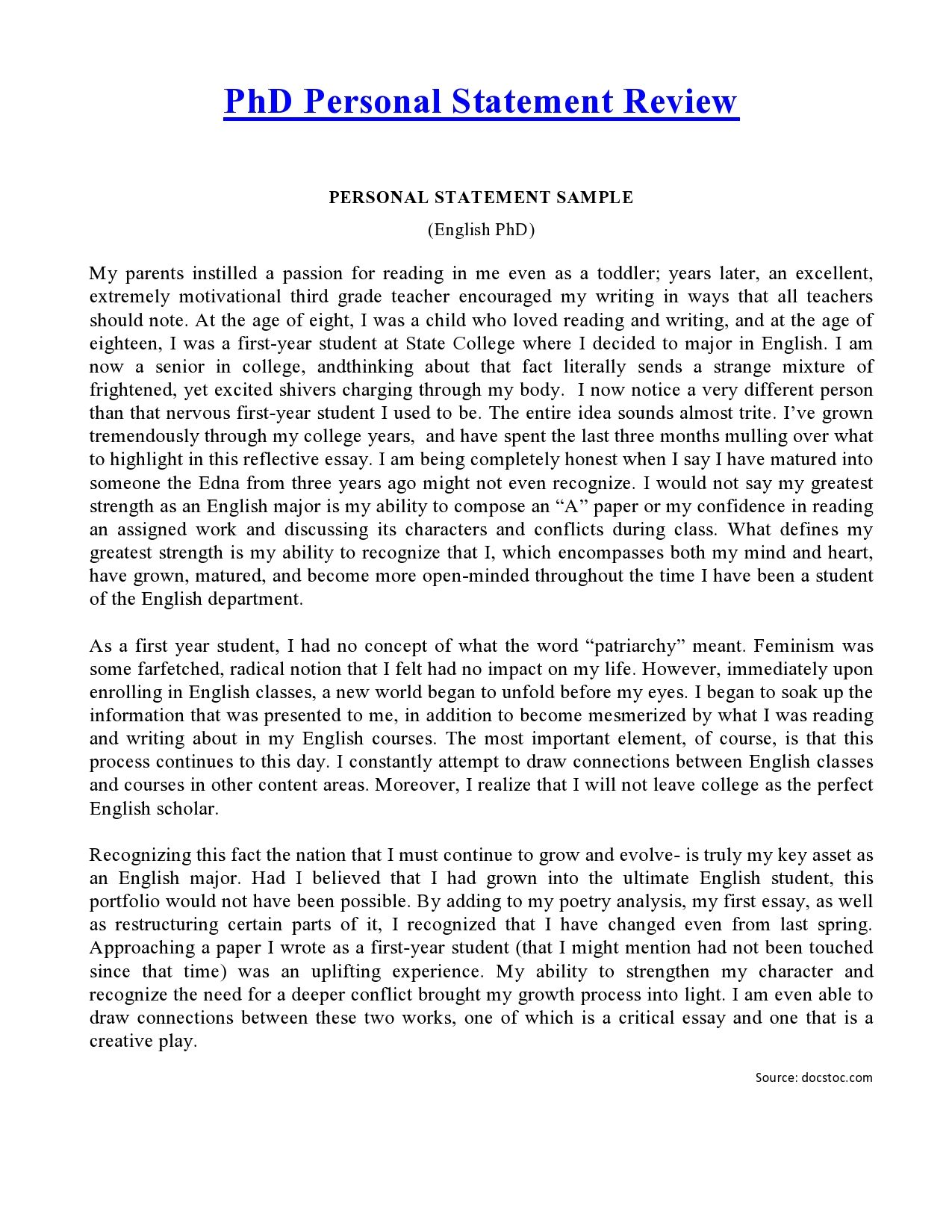 Personal Statement Phd  Personal Statement    Social