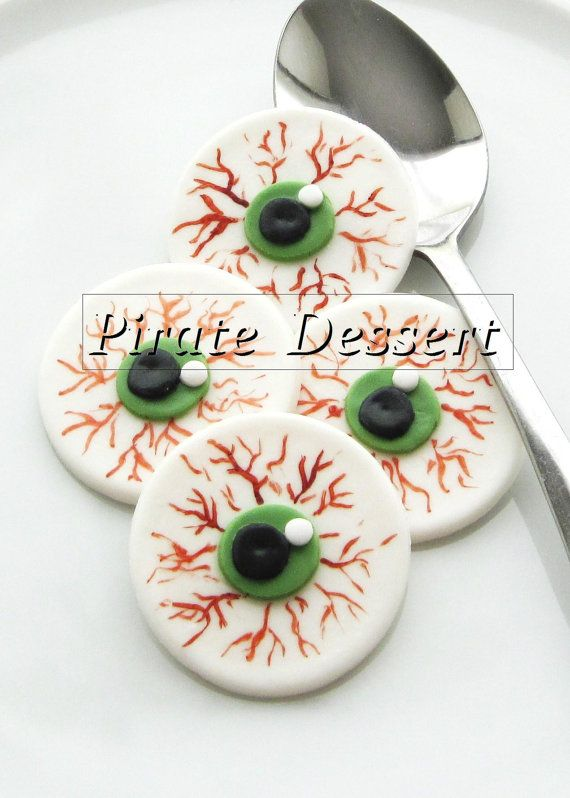 Edible Halloween cupcake toppers - EYE BALLS- Fondant cake - cake decorations for halloween