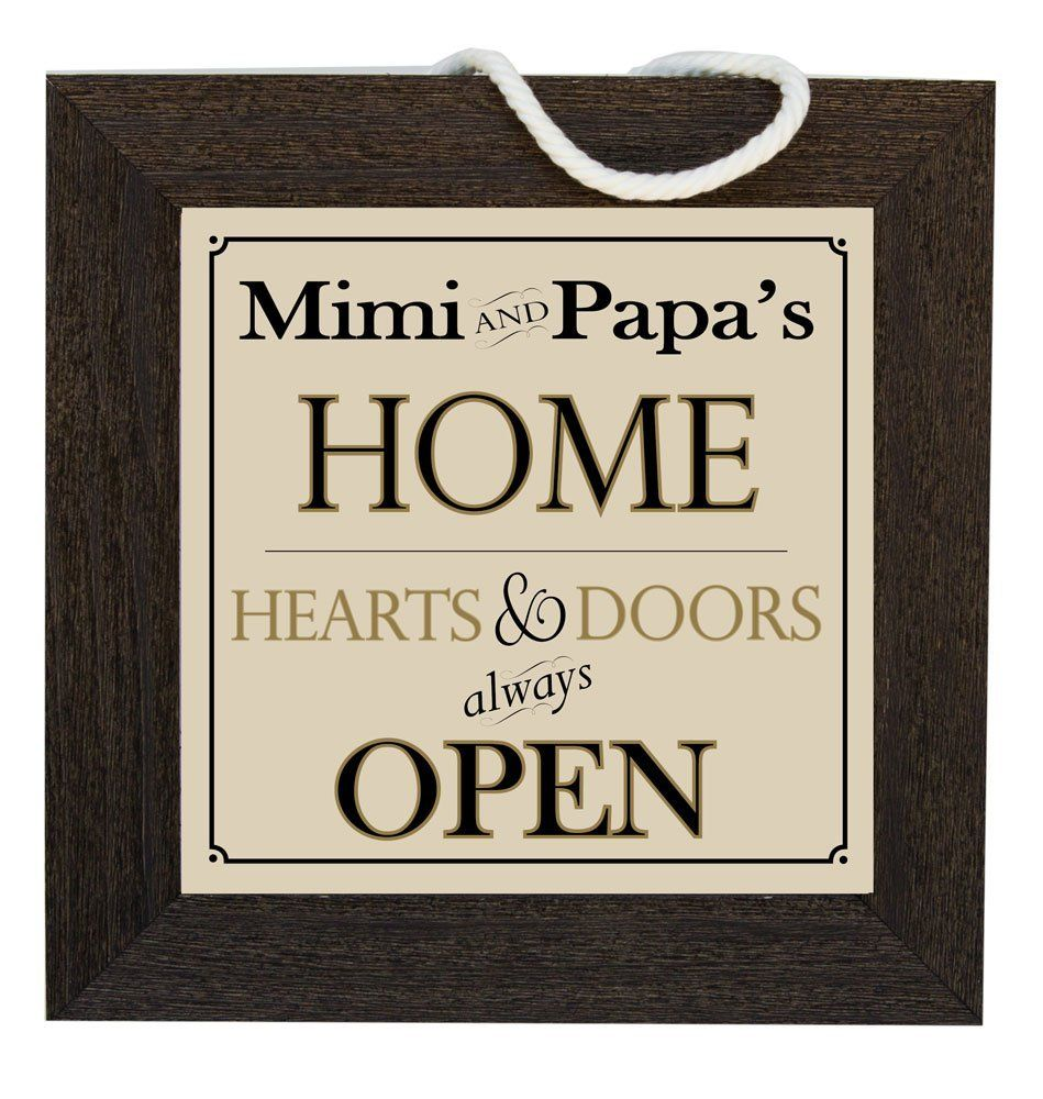 Mimi and PaPa\'s Home Decorative Framed House Sign, Hearts and Doors ...