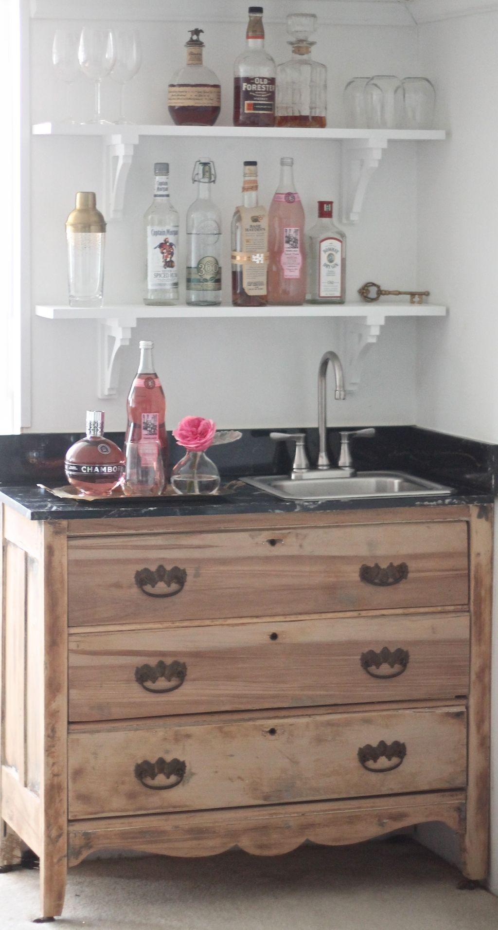 Turn An Old Dresser Into A Wet Bar