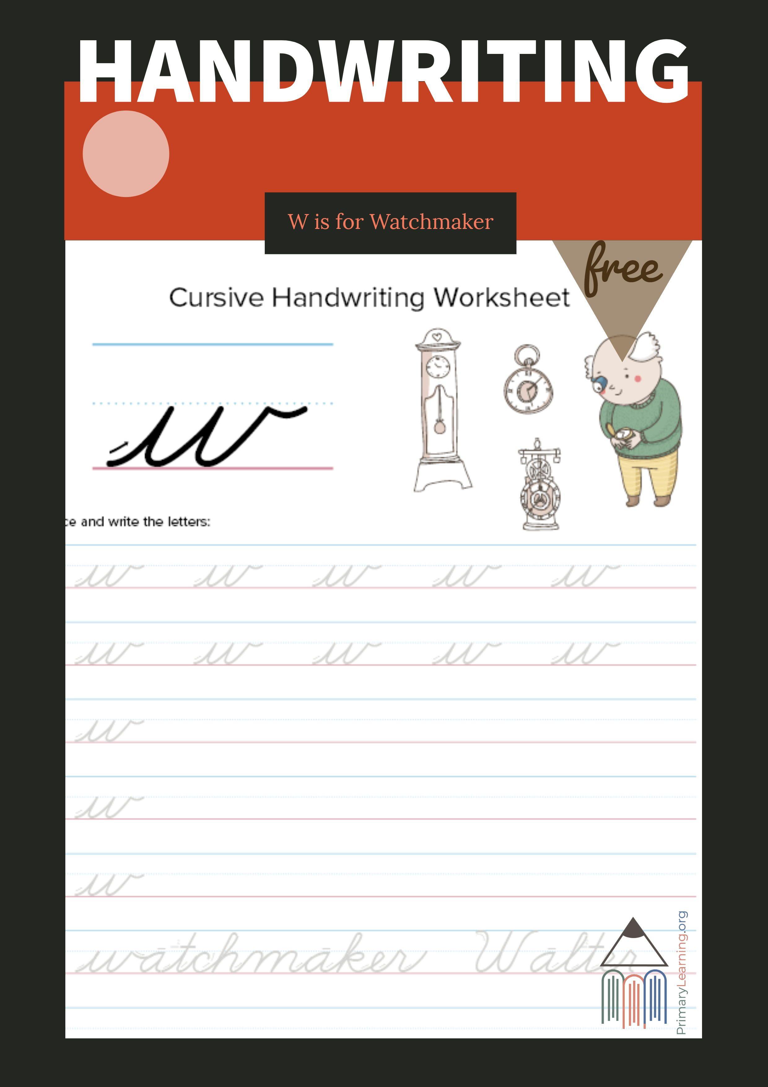 Lowercase Cursive W Worksheet