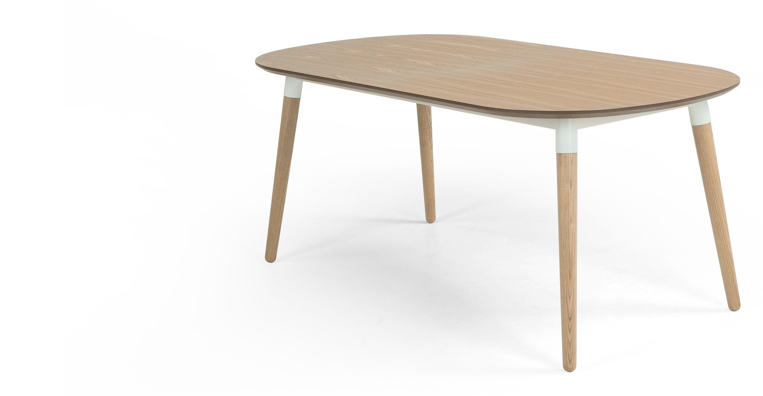 Edelweiss une table  rallonges frªne et blanc