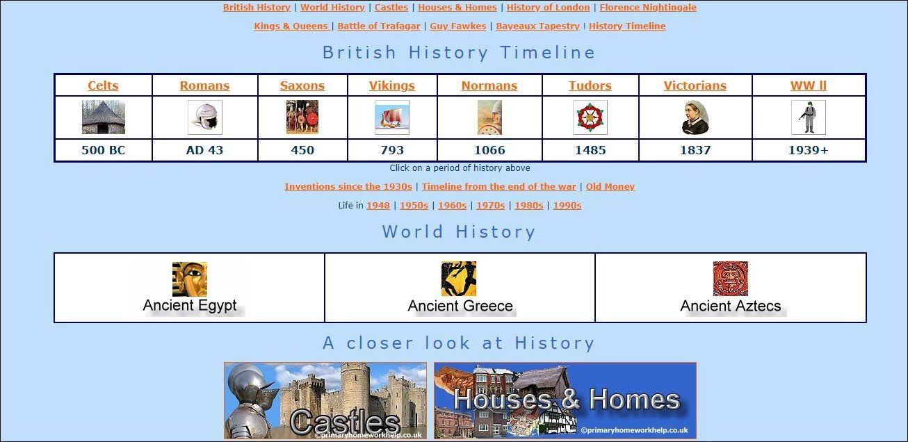 Primary homework help timeline of british history