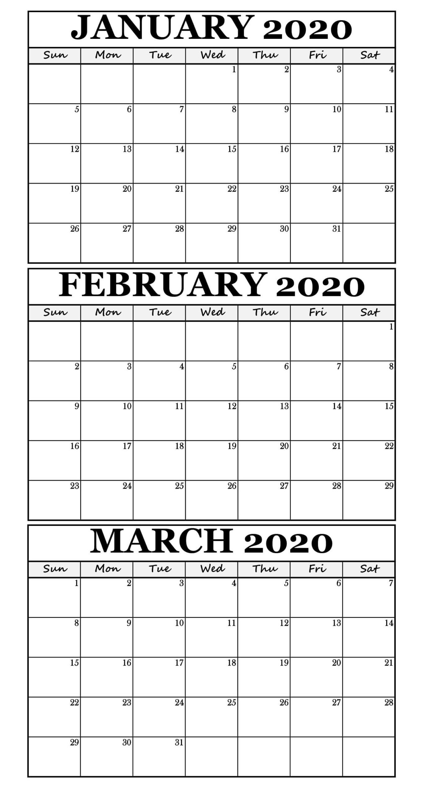 January February March 2020 Calendar For Three Month Scaled February Calendar March Calendar Printable Monthly Calendar Template