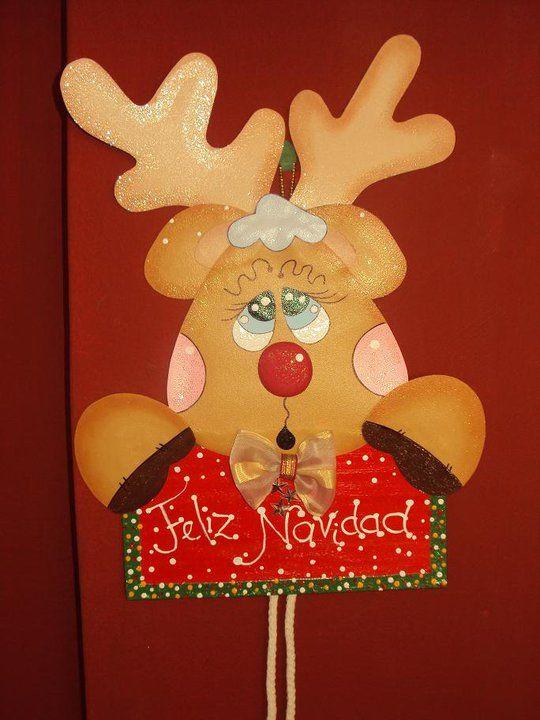 Reno decorativo para puerta navidad navidad adornos for Manualidades renos navidenos