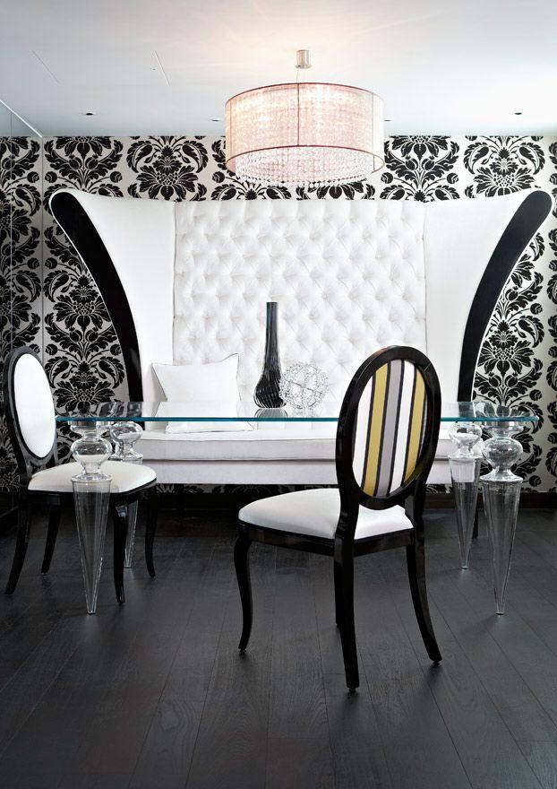 art deco style black white meuble original salle a manger idees pour la