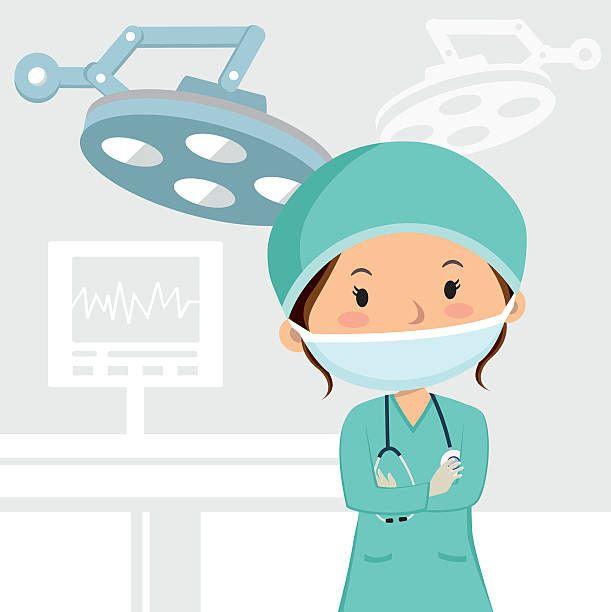 Hembra Cirujano En El Teatro De Operaciones Ilustracion De Arte Vectorial Enfermera Caricatura Medico Dibujo Enfermero Dibujo