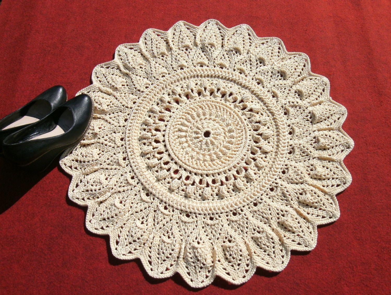 Doily rug 27 inches Crochet round rug Light beige crochet carpet ...
