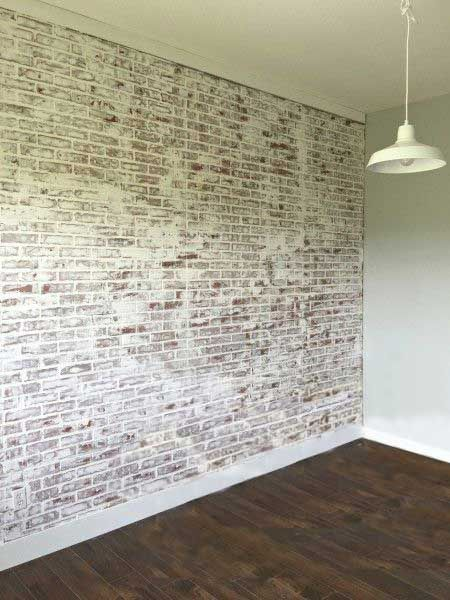White washed faux brick. We'll be coming up with this ...